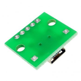 MiniUSB DIP адаптер МАМА (разъем на  плате) 5 PIN PCB