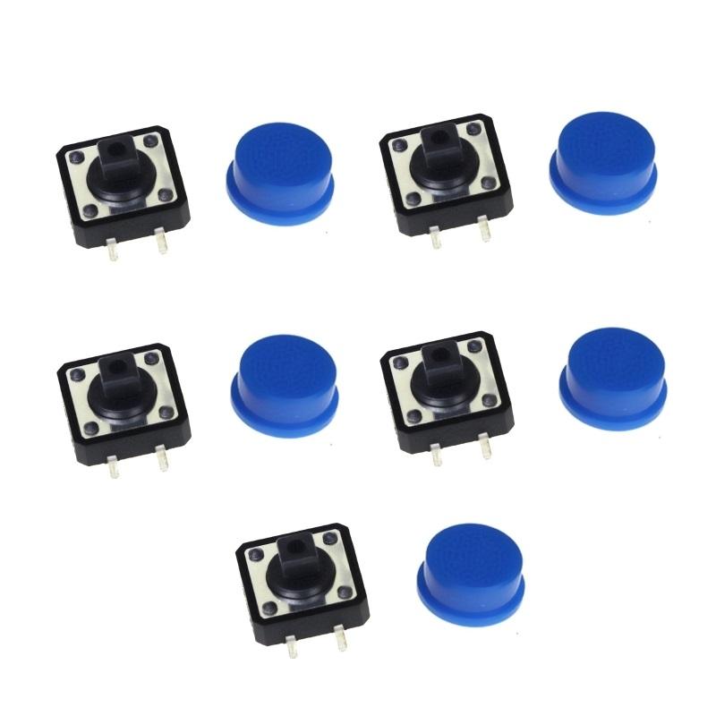 FEIYANG Набор кнопок 12x12 с синими колпачками (5 штук)