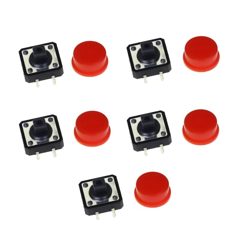 FEIYANG Набор кнопок 12x12 с красными колпачками (5 штук)