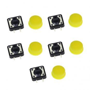 FEIYANG Набор кнопок 12x12 с желтыми колпачками (5 штук)