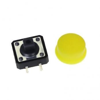 Набор кнопок 12x12 с желтыми колпачками (5 штук) TZT