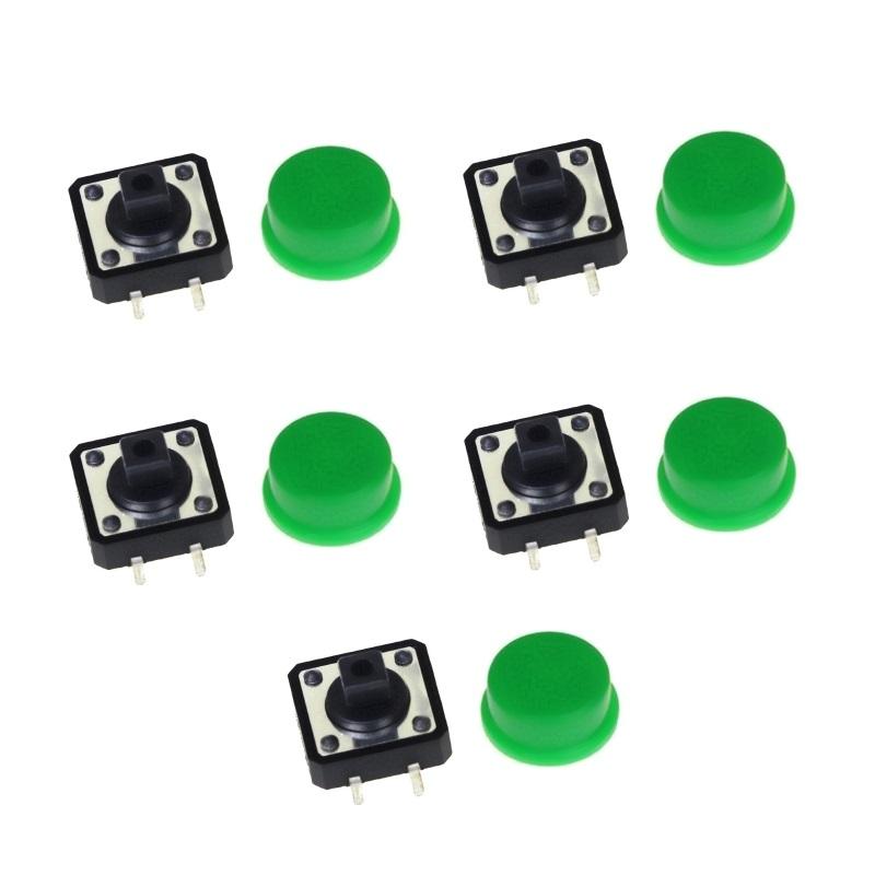 FEIYANG Набор кнопок 12x12 с зелеными колпачками (5 штук)