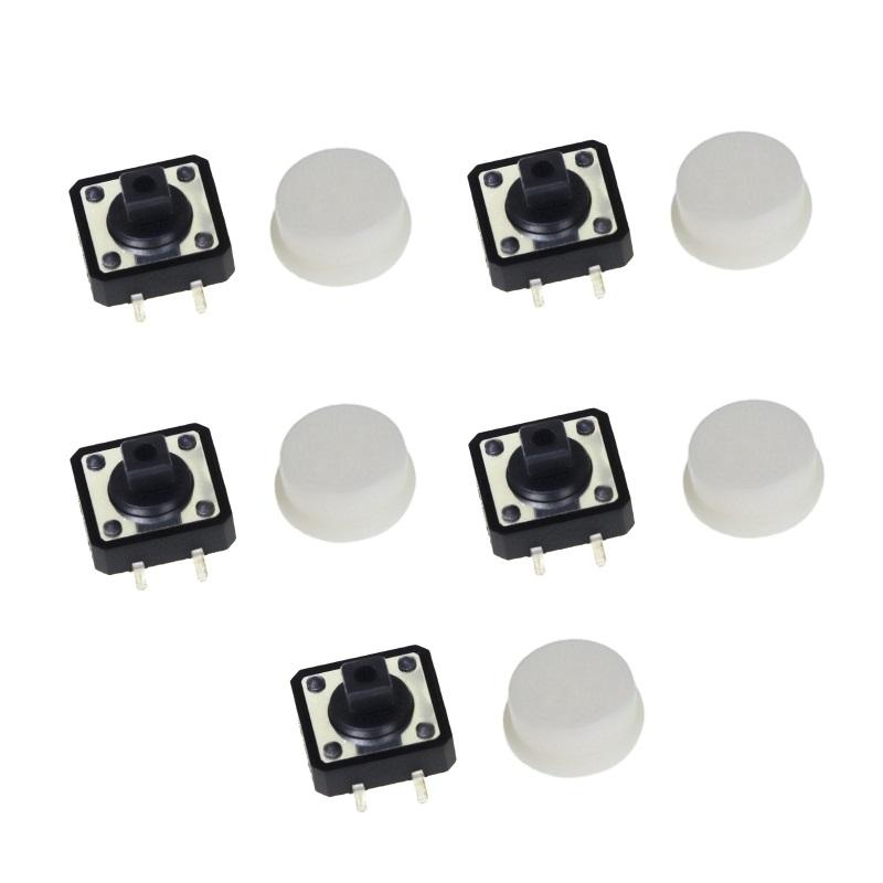 FEIYANG Набор кнопок 12x12 с белыми колпачками (5 штук)