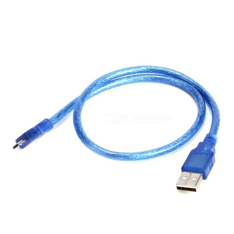 TZT Кабель MicroUSB короткий 25 см синий TZT