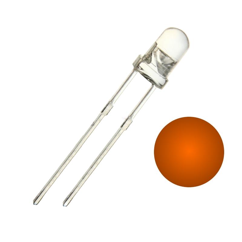 TZT Светодиод 3мм оранжевый прозрачный (набор 10 штук)