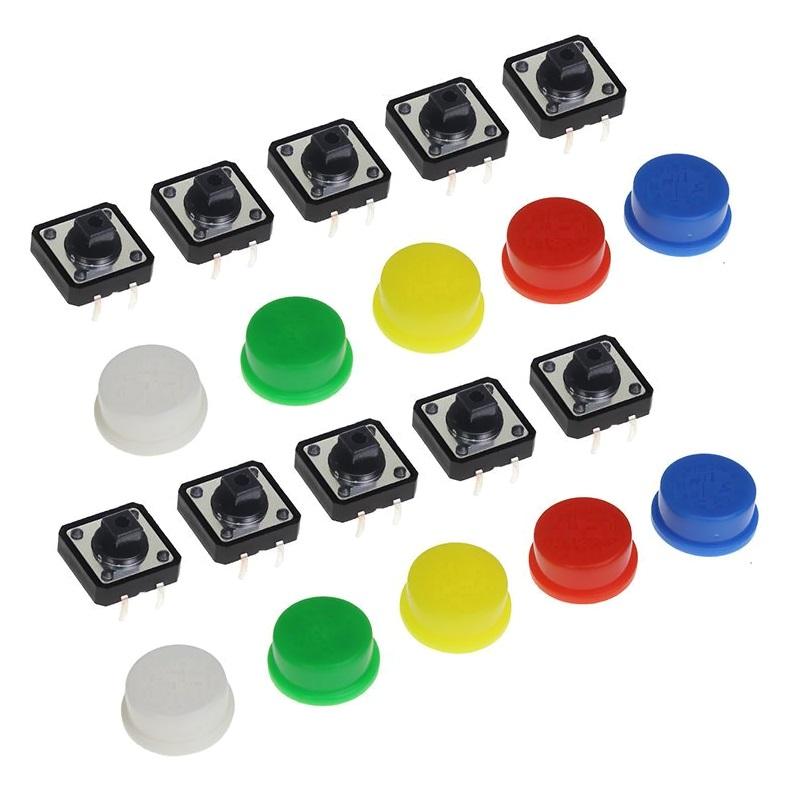 Набор кнопок 12x12 с колпачками (10 штук)