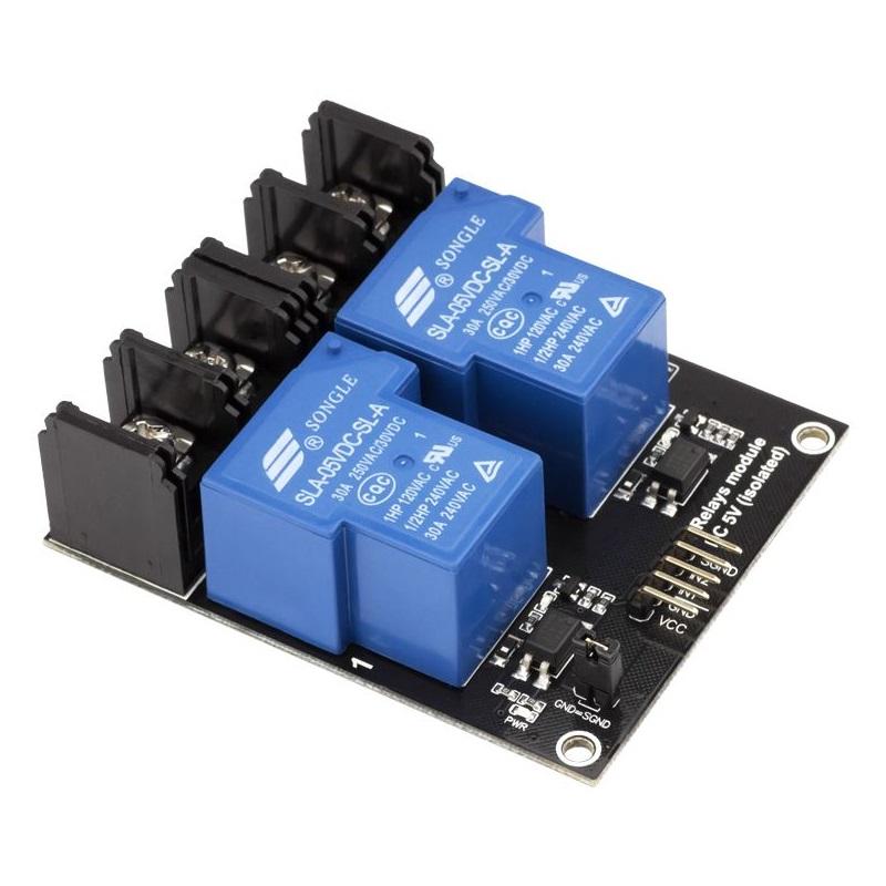 RobotDyn модуль реле 2 канала 5V 220V-30A