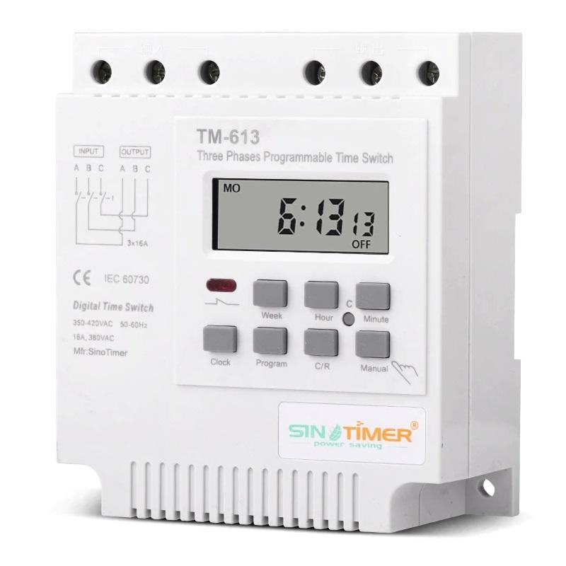 Sinotimer TM-613 реле времени недельное (3 фазы, 380V, 3x16A)