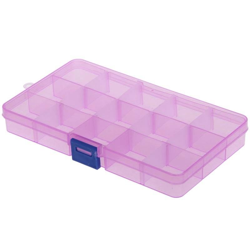 Пластиковая коробка для мелочей 15 ячеек (10х17.5х2.2 см) розовая DEHI