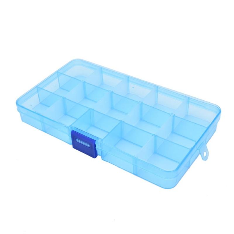 Пластиковая коробка для мелочей 15 ячеек (10х17.5х2.2 см) голубая DEHI